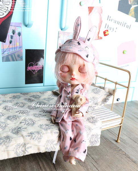 NEO blythe baby clothes pink cat pajamas set