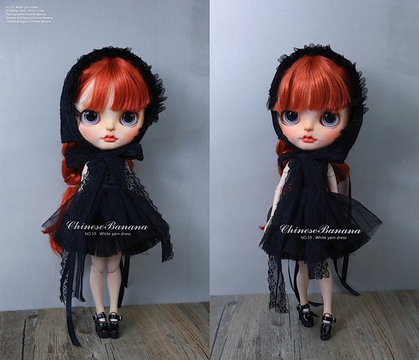 Neo blythe baby clothes, black sling dress gauze suit black gauze skirt