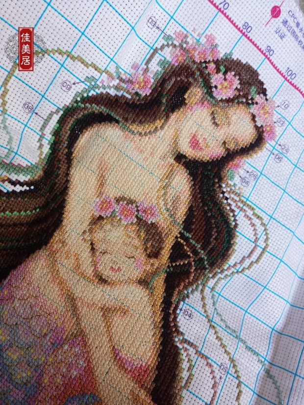 Handmade cross stitch finished mother and son mermaid
