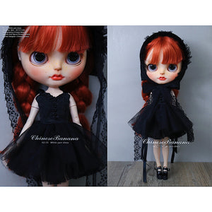 Neo blythe baby clothes, black sling dress