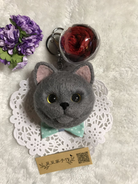 Pet cat head portrait wool felt handmade photo custom keychain car hanging gift