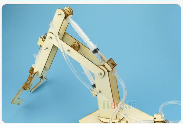 Science and technology small production wooden hydraulic mechanical arm youth science toys