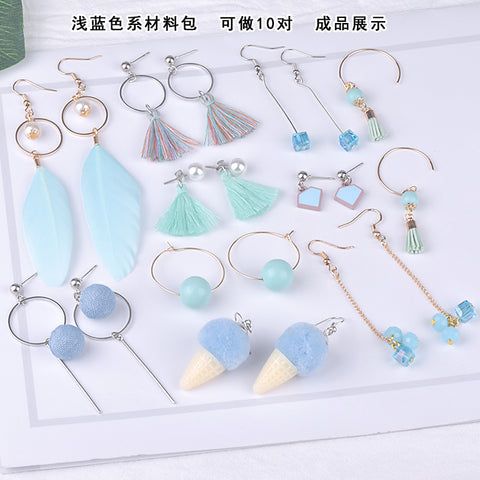 Earrings material bag accessories of DIY production -Light blue