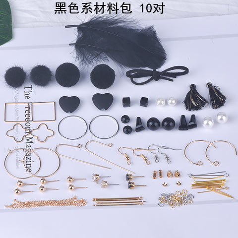 Earrings material bag accessories of their own DIY production -black
