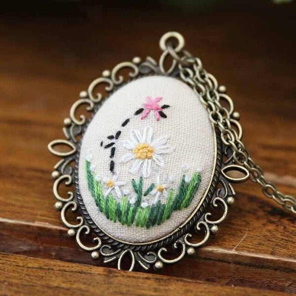 Necklace Embroidery Kits,Needlework Flower DIY Cross Stitch Sets with Hoop Handmade
