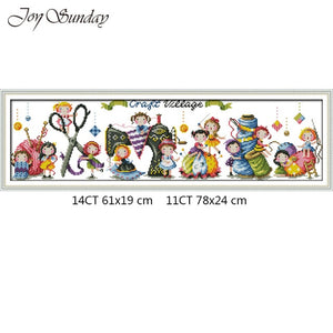 Joy Sunday Craft Village Cross Stitch Cartoon Pattern 14CT 11CT DMC A Ballet School DIY Handwork