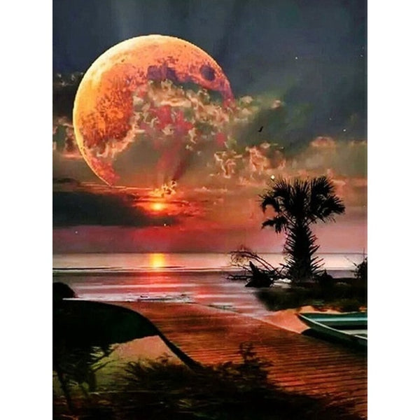 "Full Square/Round Drill 5D DIY Diamond Painting ""Moon scenery"" 3D Diamond Embroidery"