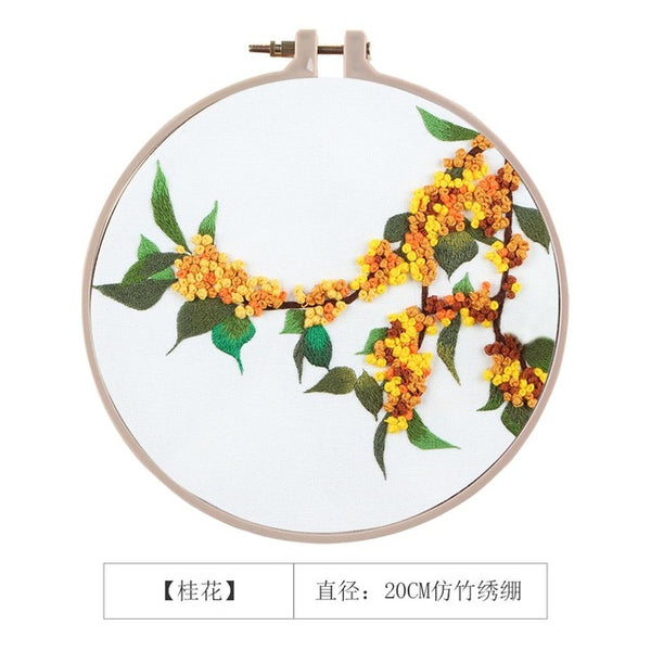 3D DIY Color Flowers Ribbon Embroidery with Hoop for Beginner Needlework Kits Cross Stitch