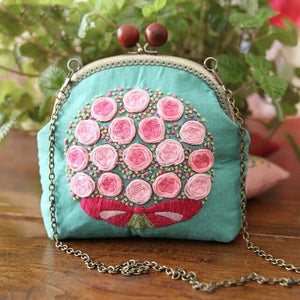 DIY Embroidery Bag Kits Floral Needlework Phone Coin Chain Bags Cross Stitch Sets with Embroidery