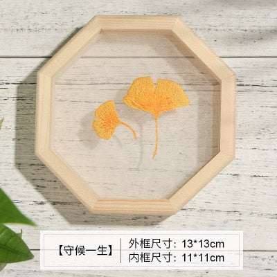 Organza Flower Embroidery Kits Plant Handmade Needlework Hoop