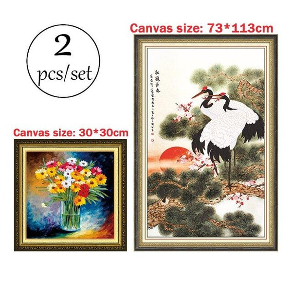 3d Ribbon Embroidery Paintings Crane Landscape Handcraft Needlework Kits Print C-0017