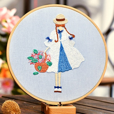 Cartoon Cute Girls DIY Embroidery Kit Cross Stitch for Beginner Needlework Art Cross Stitch