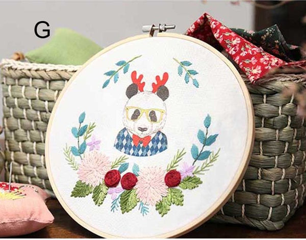 DIY Cartoon Animal Flower Ribbon Embroidery Needlework Cross Stitch Printed Canvas