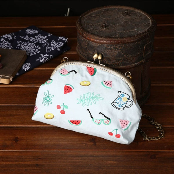 Flower Embroidery DIY Chain Bags Purse Wallet Handbag Cross Stitch Set for Beginner