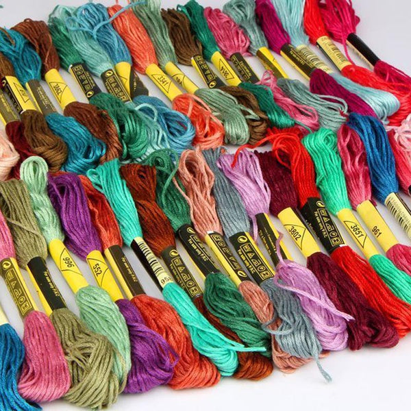 24 PCS Mix Color Embroidery Thread DIY Embroidery Thread Floss Cross Stitch Cotton