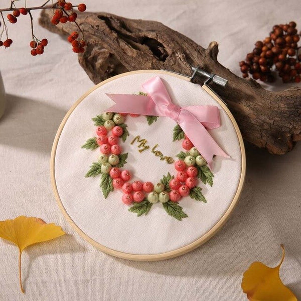 DIY Embroidery Kit Floral Printed Ribbon Cross Stitch Needlework Sewing Art Embroidery