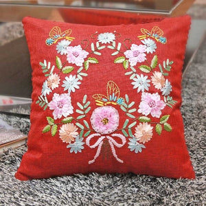 Easy Ribbon Embroidery Cushion Hemp Pillow Case for Beginner Needlework Cross Stitch