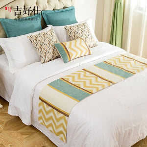 Jacquard Wave Bed Flag Towel Hotel Linen Table Flag Runner Bed Cupboard Dining