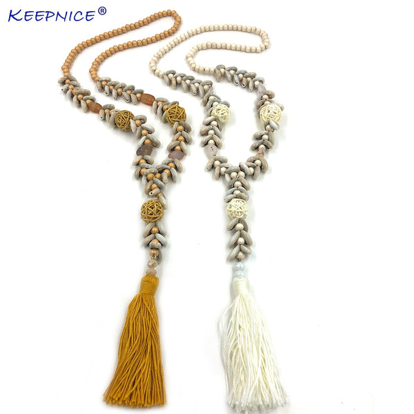 Long Fringe Tassel Pendant Necklace For Women Summer