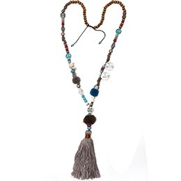 Hot Sale Plant Women Wood Maxi Necklace Collares Collier New Fashion Pompoms