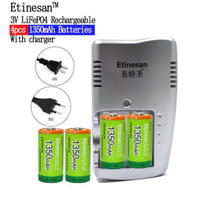1350mAh CR123A LiFePo4 Rechargeable Battery + 2 Slots Intelligent Smart Charger