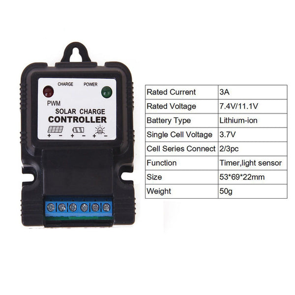 12/24V Solar Charger controller PWM 10A 3A 6V 18650 Li-ion Lithium LiFePO4 Battery