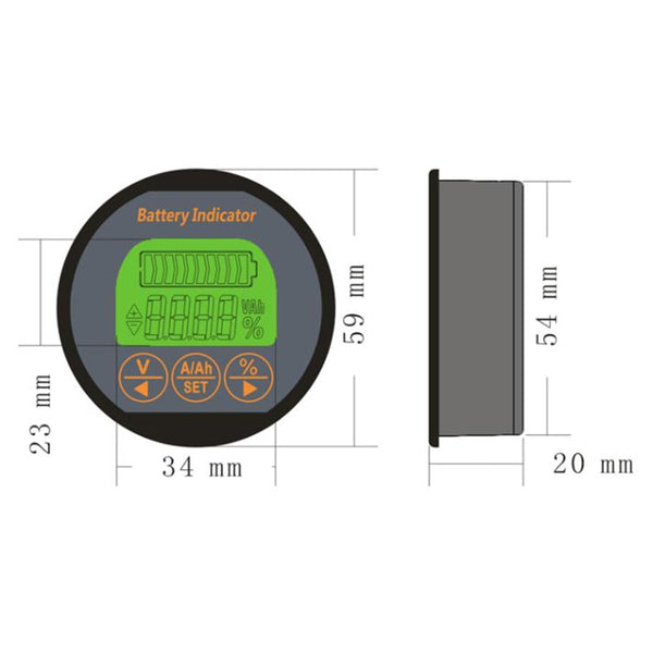 Coulomb Counter Meter Capacity Indicator Ammeter Voltmeter ebike Li-ion Lipo Lithium Lifepo4