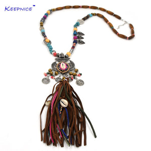 wooden beaded chain necklace