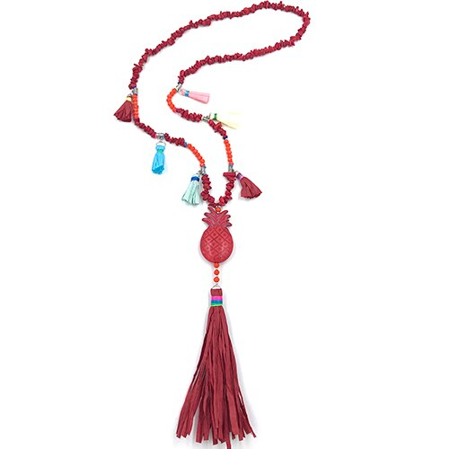 Handmade Creative tassel Pendents Necklace Unique Boho Bohemia Necklaces pineapple