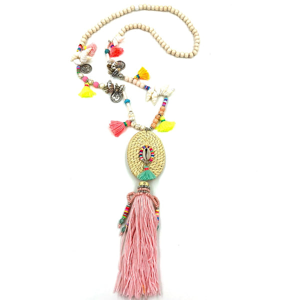 long fringe tassel Necklaces for women summer pendant Necklace Boho colorful shell