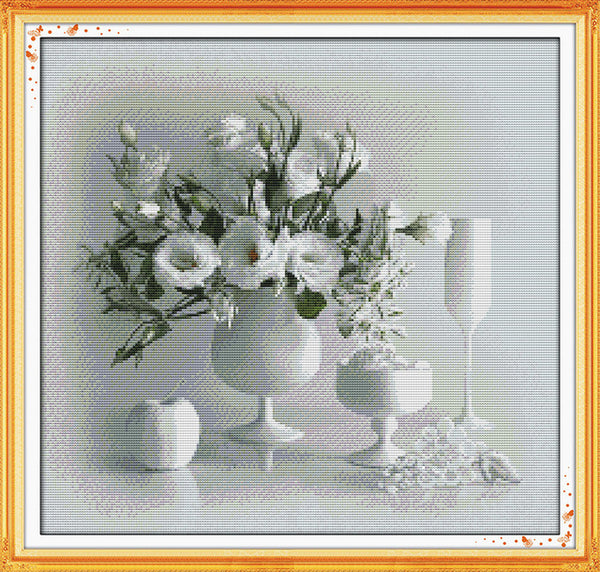 Beautiful Vase Counted Cross Stitch Kits Printed Canvas DMC Stamped Cross Stitch Kit