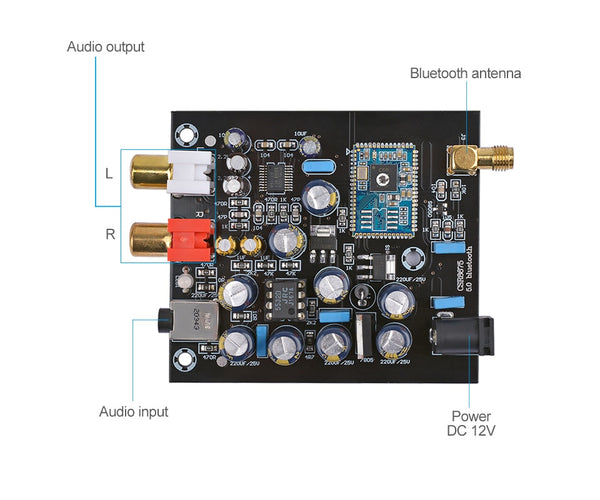 5.0 Bluetooth Decoder Board CSR8675 DAC 12V 3.5mm Lossless Decoding Audio Module