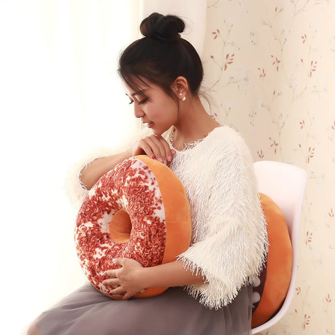 Stuffed Seat Pad  Donut Foods Cushion Case Toys