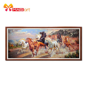 Cross stitch kits Embroidery needlework sets 11CT water soluble canvas patterns 14CT Chinese Style Ten Horses Galloping-NCMA055