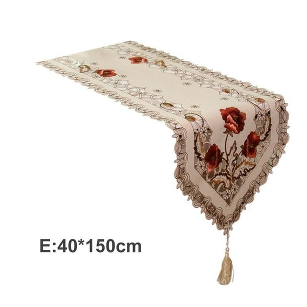 Pastoral Embroidered Floral Tablecloth Table Runner Home Kitchen Dining Room