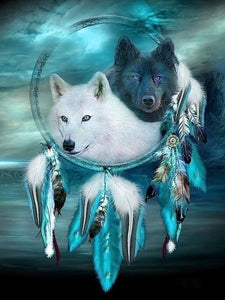 Dreamcatcher Wolf Full Drill Square/round Animal 5d Diamond Painting Diamond Embroidery