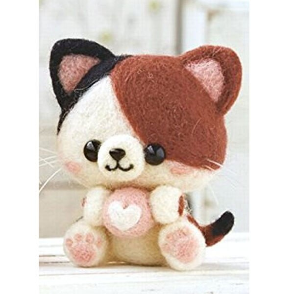 2019 Creative Cute Love Cat Kitty Toy Doll Wool Felt Poked Kitting Non-Finished Handcarft