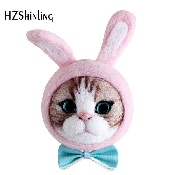 Caroon Kitty Cat Head Bow Doll Wool Felt Craft DIY Non Finished Poked Set Handcraft Kit