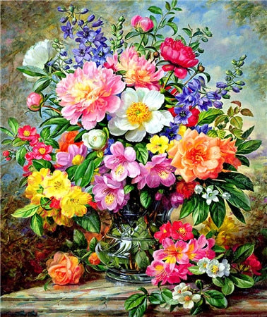 DIY Diamond Painting Flowers Diamond Embroidery Floral Picture Of Rhinestones Home Decoration