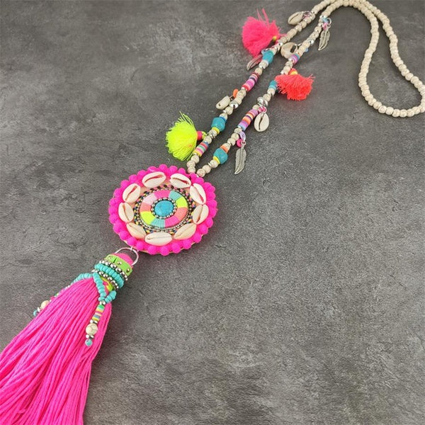 Boho Bohemia handmade Bead tassel pendants Necklace shell pendants stone