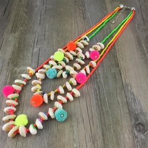 Vintage Ethnic Charms Shell Beads Colorful Long Pendant Necklaces Tassel Ball Pompom