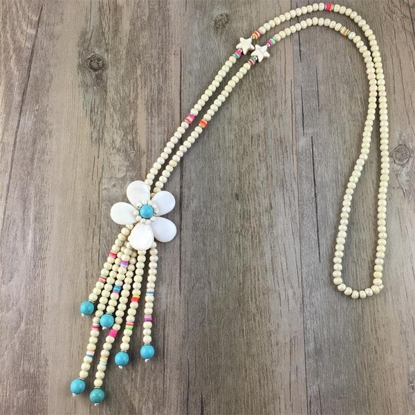 Wood Tassel Necklace New Trendy  Bohemian Shell Flower Pendant Long Necklace