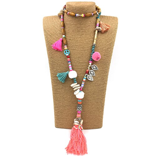 Clothing accessories Bohemian ethnic beaded chains tassel Necklace colorful Pompoms