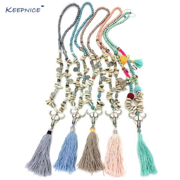 tassel charm taurus necklace
