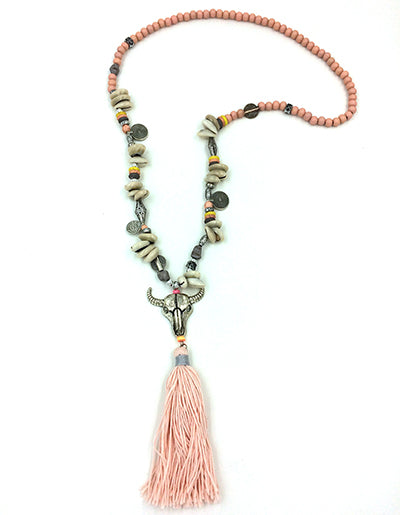 Boho Tibet antique Silver Tauren pendant necklace Pink Cotton Tassel beaded chain Necklace