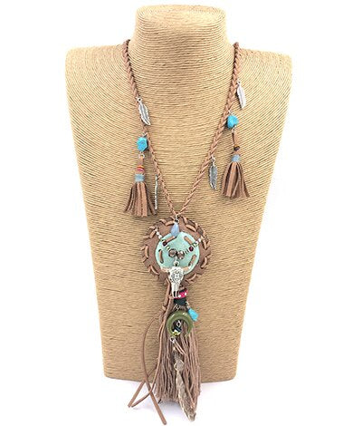 Womens clothing accessories statement jewelry Bohemia leather necklace handmade buffalo head
