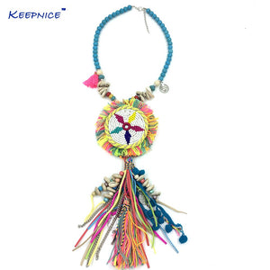 Long Fringe Pendant Necklaces