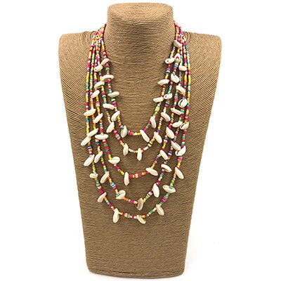 Bohemian Boho Choker Necklaces seed beads chains  multi layers Necklaces cowrie shell