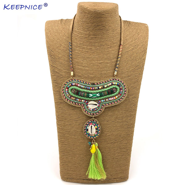 Ethnic Pink tassel Necklace For Women