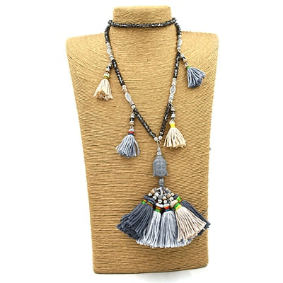 Ethnic Buddha pendants necklace multicolor Cotton Tassel Necklace Boho Crystal